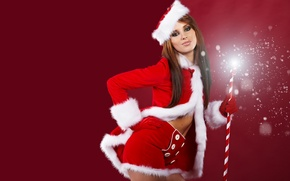 Picture girl, red, new year, costume, cane, maiden, Santa Claus
