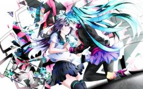 Picture girls, butterfly, skirt, anime, art, form, vocaloid, hatsune miku, Vocaloid, tyouya