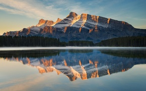 Picture forest, nature, lake, reflection, mountain, lake, canada, reflection, national park, banff, two jack, rundle