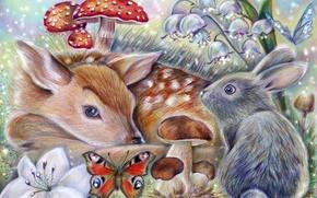 Picture butterfly, mushroom, rabbit, art, Bambi, thumper, the little fawn Bambi