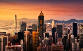 Picture sunset, building, skyscrapers, Bay, Hong Kong, hong kong