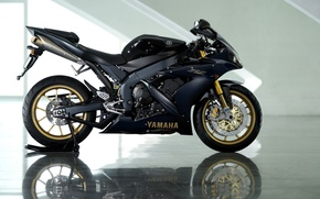 Wallpaper Yamaha, reflection, black, YZF-R1, Yamaha, black, motorcycle