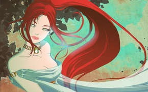 Picture look, girl, face, dress, art, decoration, red hair, trees. leaves