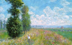 Picture field, the sky, grass, clouds, trees, landscape, flowers, picture, meadow, Claude Monet, MOP
