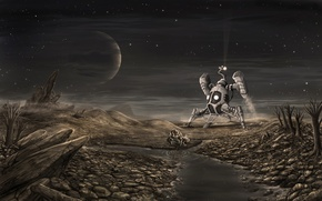 Picture stars, people, Planet, landing, pond, spaceship