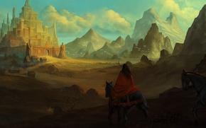 Picture landscape, the city, horses, art, cloak, riders, travelers, vennom07
