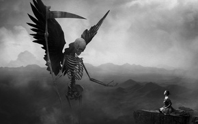Picture girl, mountains, fog, rock, death, background, the darkness, the situation, skeleton, braid