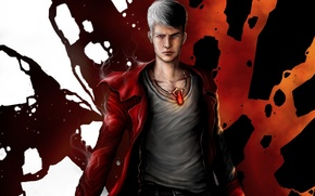 Picture abstraction, art, pendant, guy, cloak, Dante, Devil May Cry, different eyes