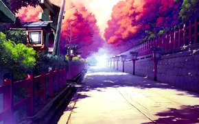 Picture art, home, trees, shadows, fences, the street, the sun, the sky
