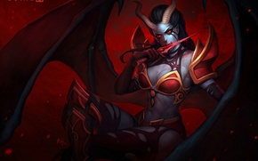 Picture pose, weapons, blood, the game, art, horns, demoness, Queen, dota 2