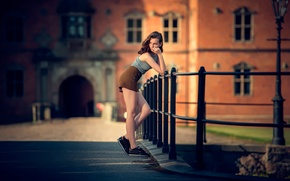 Picture girl, the city, shorts, legs, bokeh, Julie, Neatwork Photo