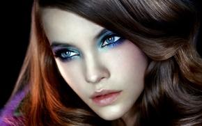 Picture eyes, girl, face, model, makeup, blue, brown hair, Barbara Palvin, Barbara Palvin