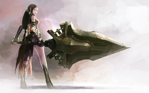 Picture armor, gloves, grey background, long hair, from the back, super-weapons, sideways, the woman warrior