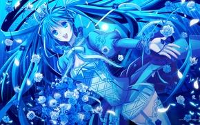 Picture blue, hatsune miku, psychosis