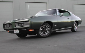 Picture muscle car, the building, TRP, dark green, dark green, gto, 1969, pontiac, Pontiac, muscle car