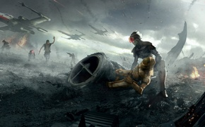 Picture war, star wars, art, R2-D2, X-wing, C-3PO, han solo