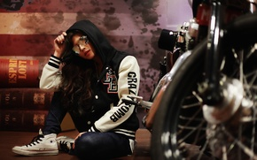 Wallpaper girl, hood, Cape, glasses, motorcycle, face, hair