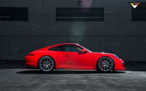 Picture machine, auto, red, Porsche, Vorsteiner, side, 991 Carrera, S V-GT Edition