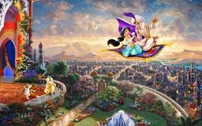 Picture the city, fountain, painting, Palace, Aladdin, Thomas Kinkade, painting, Kingdom, Jasmine, Walt Disney, Thomas Kinkade, …