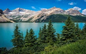 Picture the sky, clouds, trees, mountains, lake, Banff National Park, canada, alberta, Bow Lake