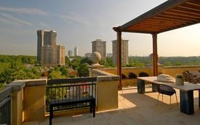 Picture city, penthouse, interior, building, terrace