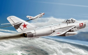 Picture art, airplane, aviation, russian jet, MIG 17