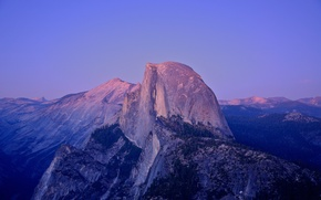 Wallpaper sunset, CA, USA, moonlight, Yosemite national Park, granite rock, Half Dome