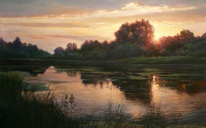 Picture the sky, light, trees, landscape, sunset, lake, reflection, shore, picture, the evening, grass, Zbigniew Kopania