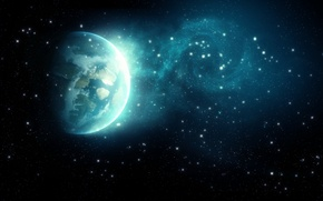 Picture space, stars, space, earth, planet