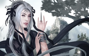 Wallpaper tattoo, Asia, mountains, art, hand, decoration, knife, girl, white hair
