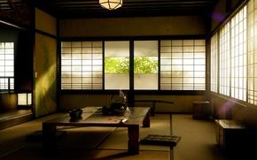 Wallpaper morning, interior, the tea party