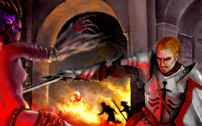 Picture demoness, dragon age, art, the demon, warrior, battle, tower, alistair, origins, fire