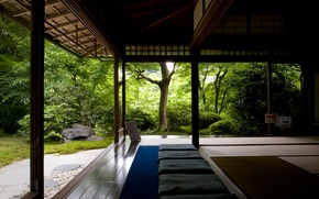 Wallpaper forest, trees, search, house, relax, silence, meditation, temple, Zen