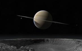 Wallpaper Saturn, Planet, Crater, Stars, Ring, Satellite
