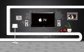 Wallpaper style, interior, apple, modern
