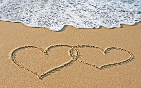 Picture sand, sea, water, love, mood, heart, hearts, written