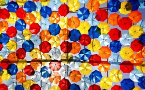 Picture umbrellas, colorful, a lot