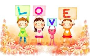Wallpaper mood, children, letters, love, chamomile, bright, joy, happiness