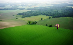 Picture field, trees, blue, yellow, red, nature, balloon, meadow, beautiful, color