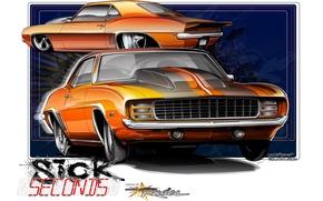 Picture orange, 1969, Chevrolet Camaro, Chevrolet Camaro SS, Drag, drag, Sick Second