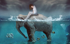 Picture GIRL, SEA, WATER, The OCEAN, The SKY, DROPS, SQUIRT, SURFACE, MOOD, ELEPHANT, FISH, PACK, TRUNK, …