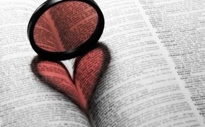 Picture heart, lens, book
