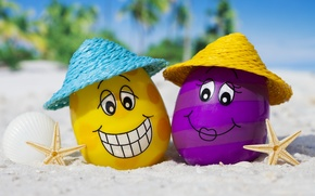 Wallpaper eggs, glasses, happy, beach, funny, cute, summer, tropical