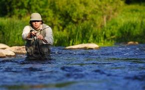 Picture water, equipment, hobby, men fishing, fly fishing