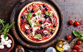 Picture mushrooms, pizza, tomatoes, olives, sausage, pizza, mushroom, tomatoes, olives, sausage