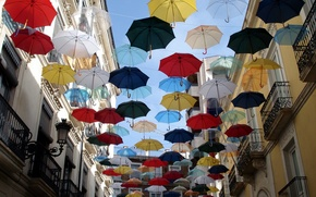 Picture Colorful, Street, Umbrella, Balcony