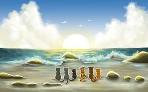 Picture sand, sea, clouds, birds, cats, wave, art, painted landscape