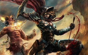 Picture girl, blood, battle, rage, monsters, Diablo, fanart, Demon Hunter