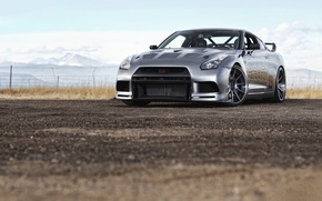Picture road, stones, cars, nissan, Nissan, gtr, photo machines, auto widescreen