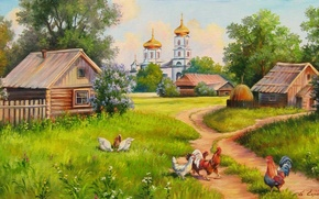 Picture picture, summer, Church, painting, village, painting, E. Samara